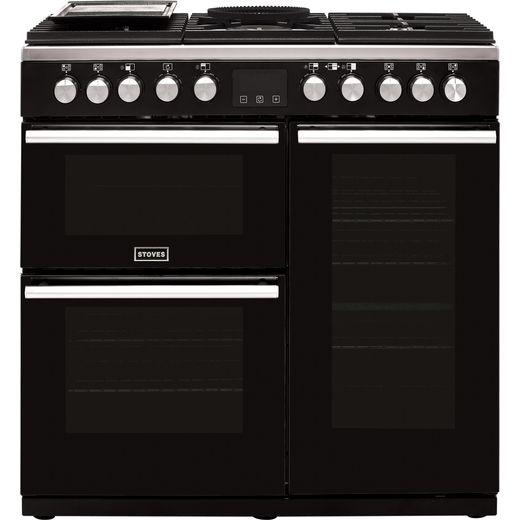 Stoves Precision DX S900DF 90cm Dual Fuel Range Cooker - Black - A/A/A Rated
