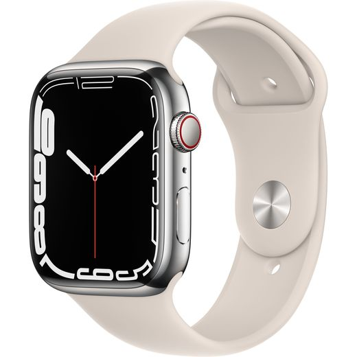 Apple Watch Series 7, 45mm, GPS + Cellular [2021] - Silver Stainless Steel Case with Starlight Sport Band