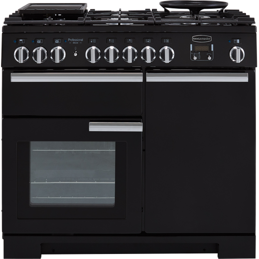 Rangemaster Professional Deluxe PDL100DFFGB/C 100cm Dual Fuel Range Cooker - Black - A/A Rated