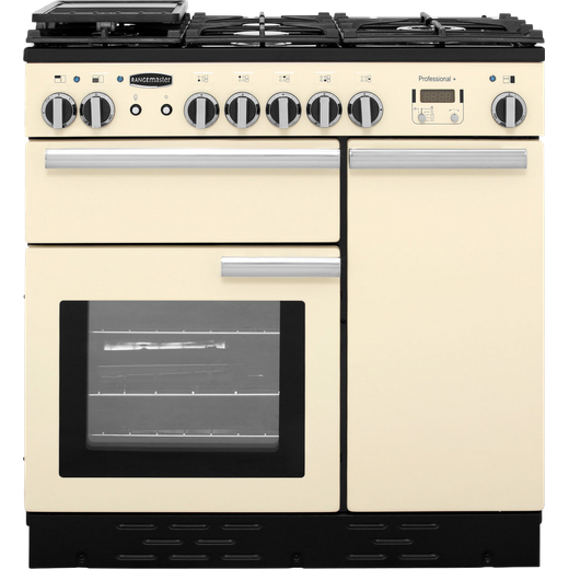 Rangemaster Professional Plus PROP90DFFCR/C 90cm Dual Fuel Range Cooker - Cream / Chrome - A/A Rated