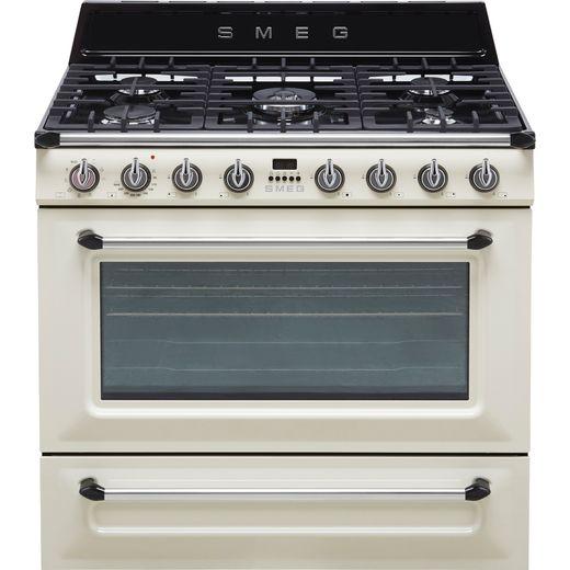 Smeg Victoria TR90P9 90cm Dual Fuel Range Cooker - Cream - A Rated