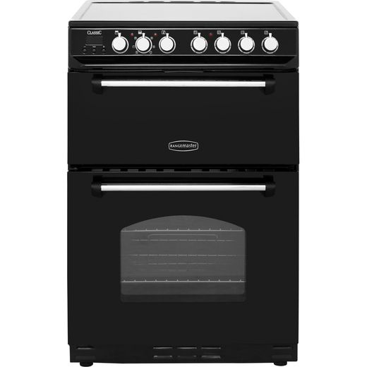 Rangemaster Classic 60 CLAS60ECBL/C Electric Cooker - Black / Chrome - Needs 10.6KW Electrical Connection