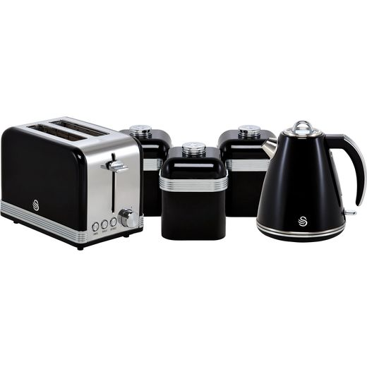 Swan Retro STRP3022BN Kettle And Toaster Set - Black