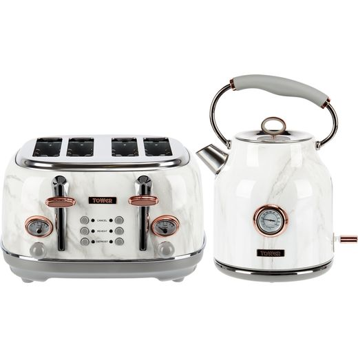 Tower AOBUNDLE002 Kettle And Toaster Set - Stainless Steel White Marble Rose Gold