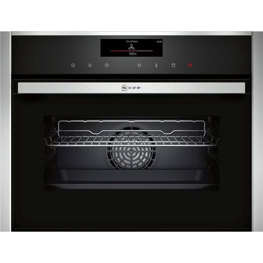 NEFF N90 C18FT56H0B Wifi Connected Built In Compact Electric Single Oven with added Steam Function - Stainless Steel - A+ Rated