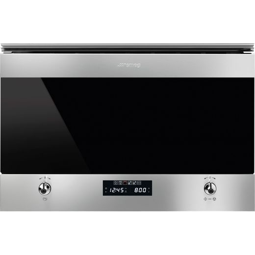 Smeg Classic MP322X1 Built In Microwave with Grill - Silver Glass