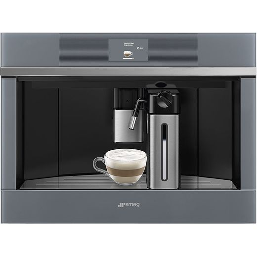 Smeg Linea CMS4104S Built In Bean to Cup Coffee Machine - Silver Glass