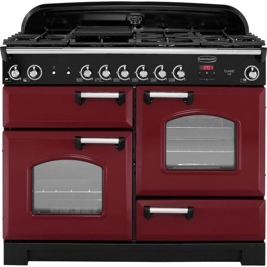 Rangemaster Classic CLA110NGFCY/C 110cm Gas Range Cooker - Cranberry / Chrome - A+/A+ Rated