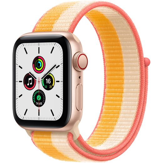 Apple Watch SE, 40mm, GPS + Cellular [2021] - Gold Aluminium Case with Maize/White Sport Loop