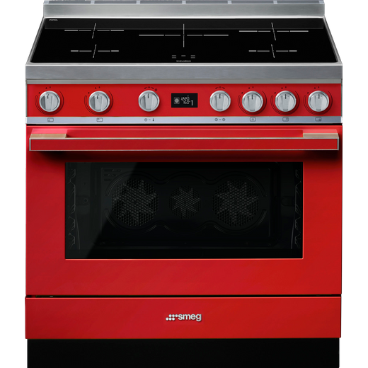 Smeg Portofino CPF9iPR 90cm Electric Range Cooker with Induction Hob - Red - A+ Rated