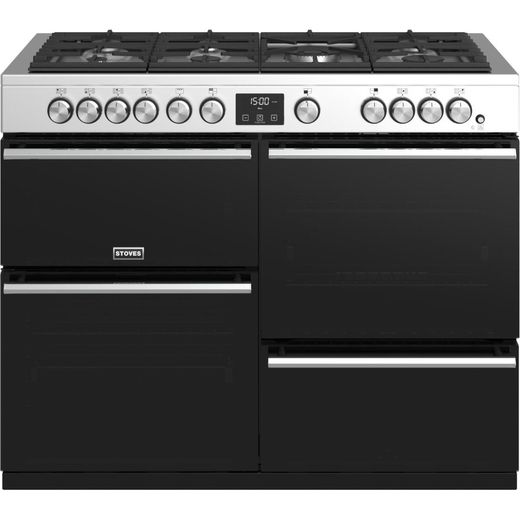 Stoves Precision DX S1100G 110cm Gas Range Cooker with Electric Grill - Stainless Steel - A/A/A Rated