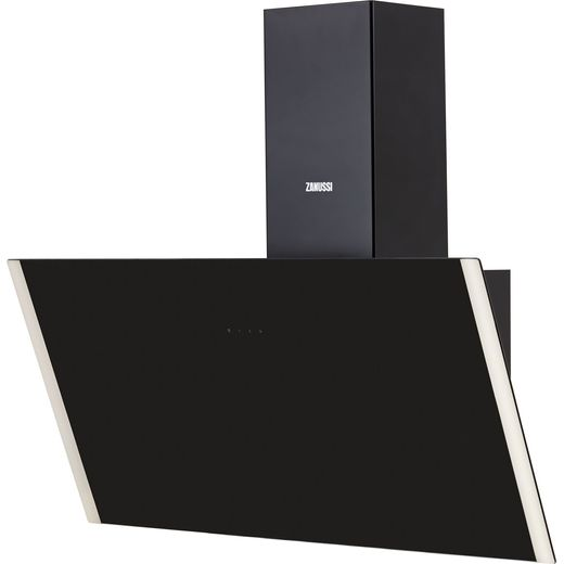 Zanussi ZHV94750BA 90 cm Angled Chimney Cooker Hood - Black Glass - A+ Rated