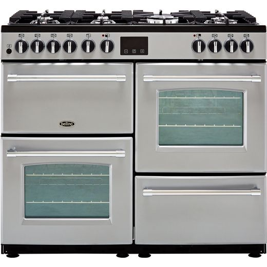 Belling Farmhouse100DF 100cm Dual Fuel Range Cooker - Silver - A/A Rated