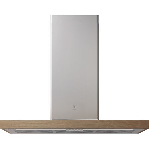 Elica BIO 90 cm Chimney Cooker Hood - White with Wood Trim - A+ Rated