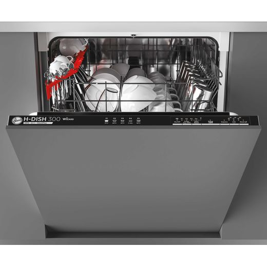 Hoover H-DISH 300 HDIN2L360PB Wifi Connected Fully Integrated Standard Dishwasher - Black Control Panel with Fixed Door Fixing Kit - E Rated