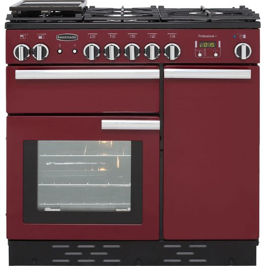 Rangemaster Professional Plus PROP90NGFCY/C 90cm Gas Range Cooker with Electric Fan Oven - Cranberry - A+/A Rated