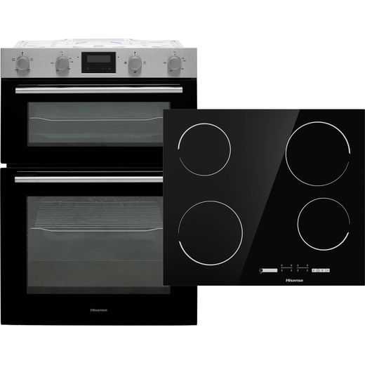 Hisense BI6095CXUK Built In Electric Electric Double Oven and Ceramic Hob Pack - Stainless Steel / Black - A/A Rated